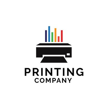 Printing company logo design with printer graphics and colorful chart lines illustration