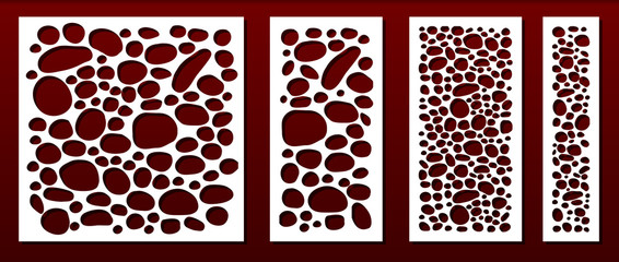 Laser cut panels, abstract geometric pattern.Template for  metal decorative cutout, wood carving, fretwork stencil, paper art