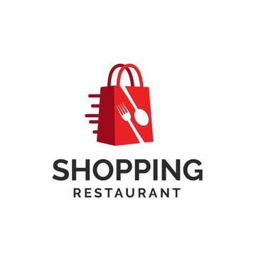 Red shopping bag e-commerce market logo design with spoon and fork shapes