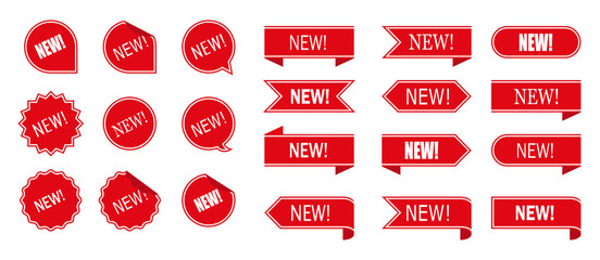 New tag ribbon and banner vector.New labels, red isolated on white background, vector illustration in flat style.