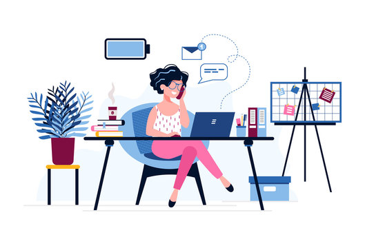 Happy female office worker with a fully charged battery. Successful businesswoman uses laptop, speaks on the phone sitting at the table. Vector illustration. Office work concept. Personal Assistant.