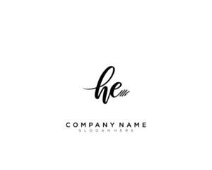 HE Initial Handwriting Logo Template Vector