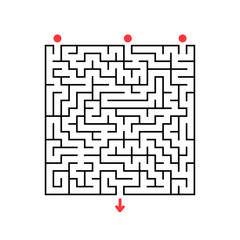 Abstract square maze. Game for kids. Puzzle for children. Labyrinth conundrum. Flat vector illustration isolated on white background.