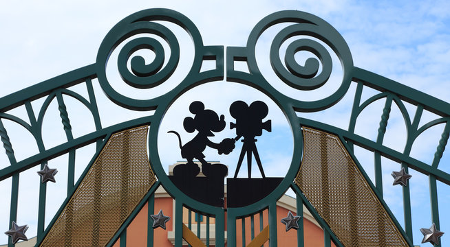Paris,France,July 10th 2010:Detail of the entrance gate in Walt Disney Studios in Paris.