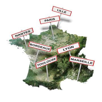 Carte de France avec panneaux des plus grandes villes
