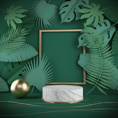 3d rendering scene podium display with Tropical leaf background. - fototapety na wymiar