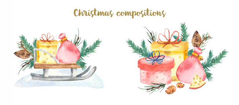 Watercolor composition merry christmas spruce sleigh gifts