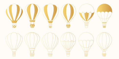 Set of golden hot air balloons silhouettes and outlines. Cute vector gold icons. Sky transport for travel.