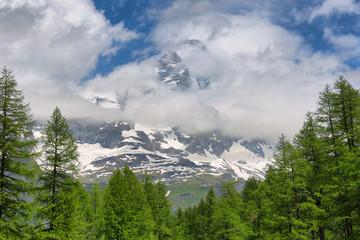 Summer alpine landscape near Breuil-Cervinia, Aosta Valley, Italy