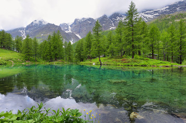 Summer alpine landscape on the Blue Lake (Lago Blu) near Breuil-Cervinia, Aosta Valley, Italy