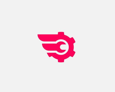 Wrench cogwhell logo design abstract modern minimal style illustration. Repair service vector icon symbol identity logotype