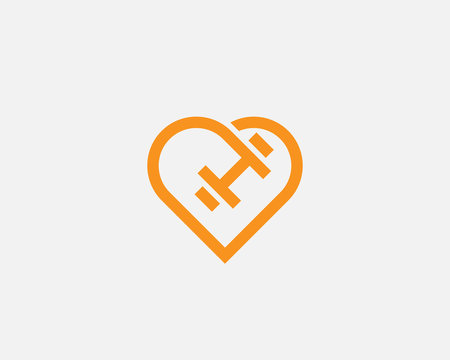 Heart dumbbell vector logotype. Love sport fitness gym workout icon logo
