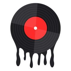 vinyl record music vector melt on white background