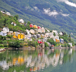 Scenic view of colorful houses with reflection in lake