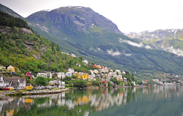Scenic view of Odda old town on lake, Norway