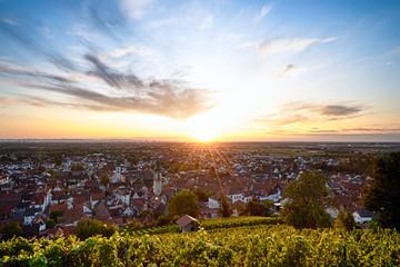 Foto op Plexiglas Zwavel geel Sonnenuntergang im Rhein Neckar Dreieck