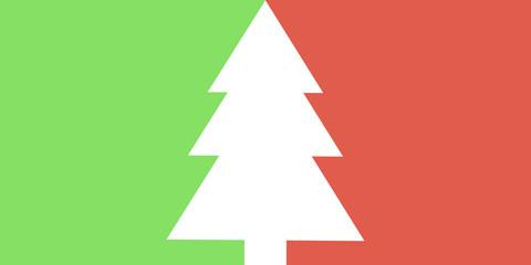 Einfache Weihnachtskarte mit Tannenbaum grün rot Wall mural