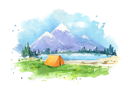 watercolour painting , camping by the lake