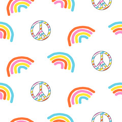 Seamless pattern with rainbow and peace symbol.