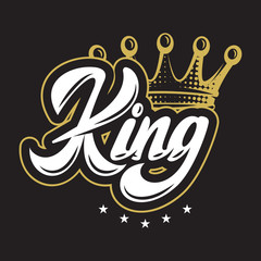 Vector illustration with crown and calligraphic inscription King
