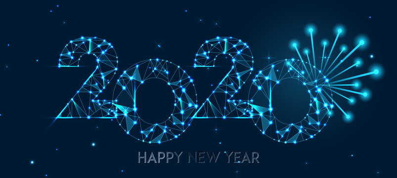 Happy new year 2020 banner design. Geometric polygonal 2020 new year greeting card. Vector firecracker background. Low polygon