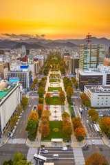 Cityscape of Sapporo, Japan at odori Park