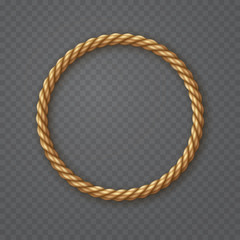 Rope circle frame isolated on transparent background. Vector round texture string, jute, thread or cord border pattern.