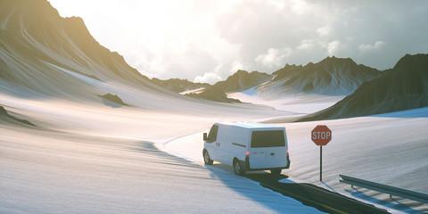 Lieferwagen auf Straße mit Schnee im Winter Fototapete