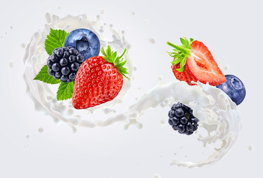 Fresh milk or yogurt 3D splash with ripe strawberry, blueberry, blackberry. Healthy dairy product ad design or commercial elements with milk, yogurt or cream and forest fruits. Dairy label concept