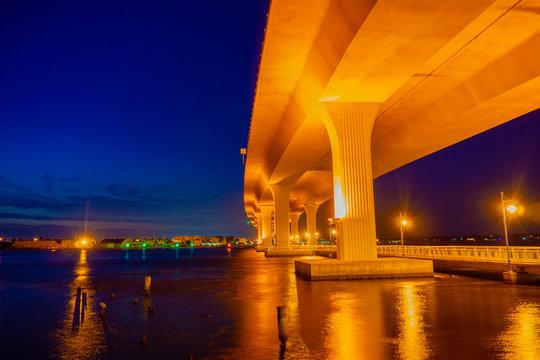 The Segmental Precast Concrete Roosevelt Bridge as seen from the Riverwalk in Downtown Stuart, Martin County, Florida, USA