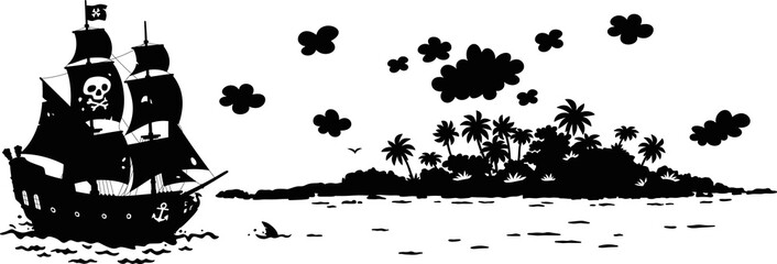 Treasure island and a sea pirate sailing ship with guns and a black flag of Jolly Roger with bones on its main mast in chase, silhouette black and white vector illustration in a cartoon style