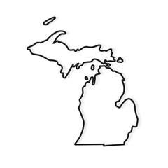 black outline of Michigan map- vector illustration