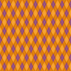 アーガイルチェック柄のシームレスパターン オレンジ色