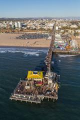 Vertical aerial view of popular Santa Monica Pier and beach near Los Angeles on December 17, 2016 in Santa Monica, California, USA.
