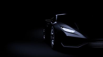 Black sport car on dark background 3d render Fototapete