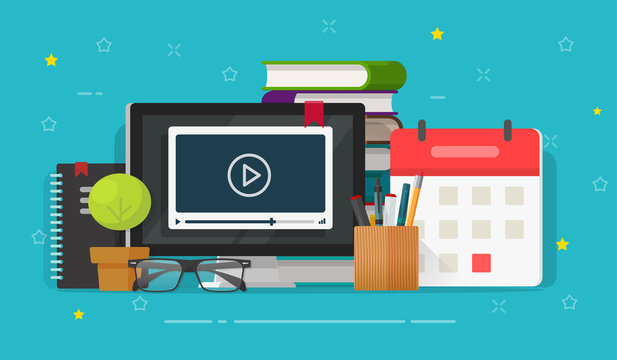 Webinar distance learning or video watching on computer education vector, flat cartoon working table desk and study stuff, idea of online courses or internet study, school or student workplace