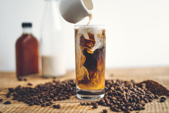 cold brew coffee In the glass And milk