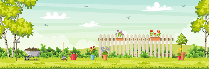 Wall Mural - Spring landscape with garden tools, vector illustration
