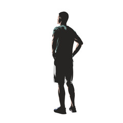 Young man dressed in t-shirt and shorts standing with hands on hips, back view. Flat design isolated vector illustration