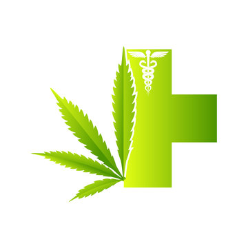 Medical marijuana plantconcept symbol with cannabis plant with leaves intertwined around
