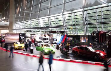 MUNICH,GERMANY - 9-14-2017: Interior of BMW World (BMW Welt) museum and showroom in Munich