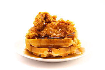 In de dag Kip Pile of Chicken and Waffles Isolated on a White Background