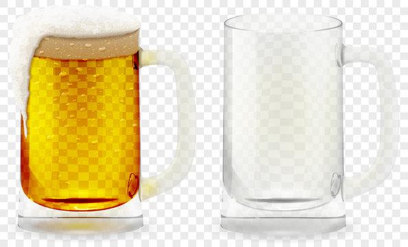 Foamy Beer Glass realistic vector 3D illustration.