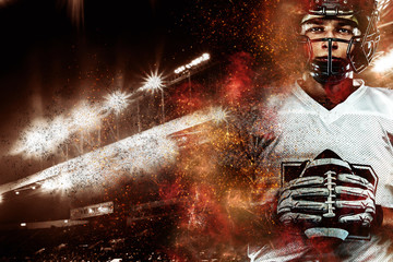 Garden Poster Brown American football player in helmet, on the stadium field with ball in the hand. Fire background. Team sports. Sport wallpaper.
