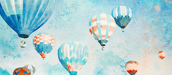 Hot Air Balloons. Watercolor background Wall mural