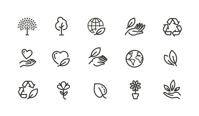 Ecology, environment line icons set. Collection vector black outline logo for mobile apps web or site design