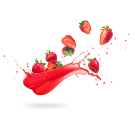 Fototapete - Strawberries with splashes of fresh juice, isolated on white background