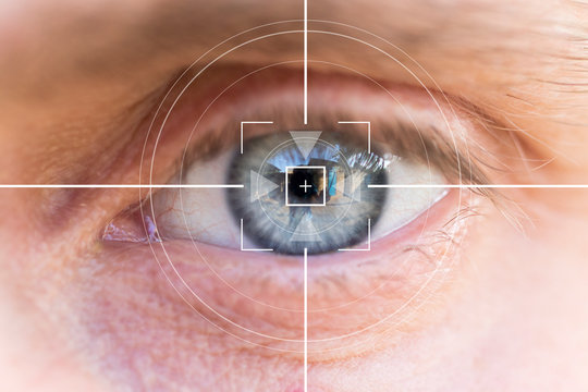 Eye monitoring and treatment in healthcare. Biometric scan of the male eye close-up.