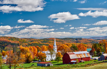 Aluminium Prints Dark grey Congregational Church and farm with red barn at sunny autumn day in Peacham, Vermont, USA