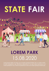 State fair brochure template. Funfair, night street market flyer, booklet, leaflet concept with flat illustrations. Summer city event. Page layout for magazine. Advertising invitation with text space